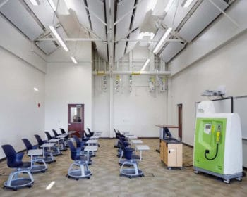 The MARET Center, a net-plus building, is a working lab where students build and test renewable-energy technologies. The center features a building automation system installed by Charles D. Jones Co.