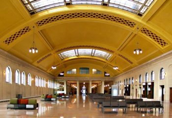 The skylights in Saint Paul's Union Depot had been blacked out since World War II. The recent renovation restored them.