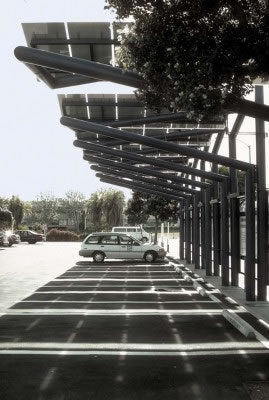 Gwynne Pugh helped design and install this solar-powered, six-car EV-charging station in Santa Monica, CA, in 1997.
