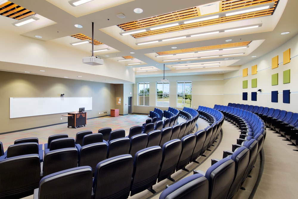 The lecture halls of University Center are equipped with remote cameras for online attendees.