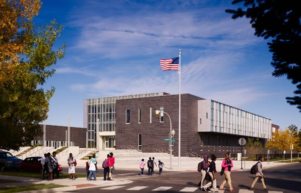 The academy's site in southwest Chicago is a former brownfield. The LEED Platinum high school will serve as a prototype for future Chicago schools.